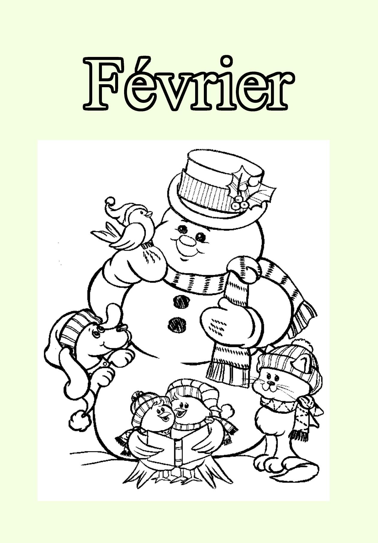 02 Fevrier - Coloriage Mois De L'année - Coloriages Pour Enfants avec Mois À Colorier Maternelle