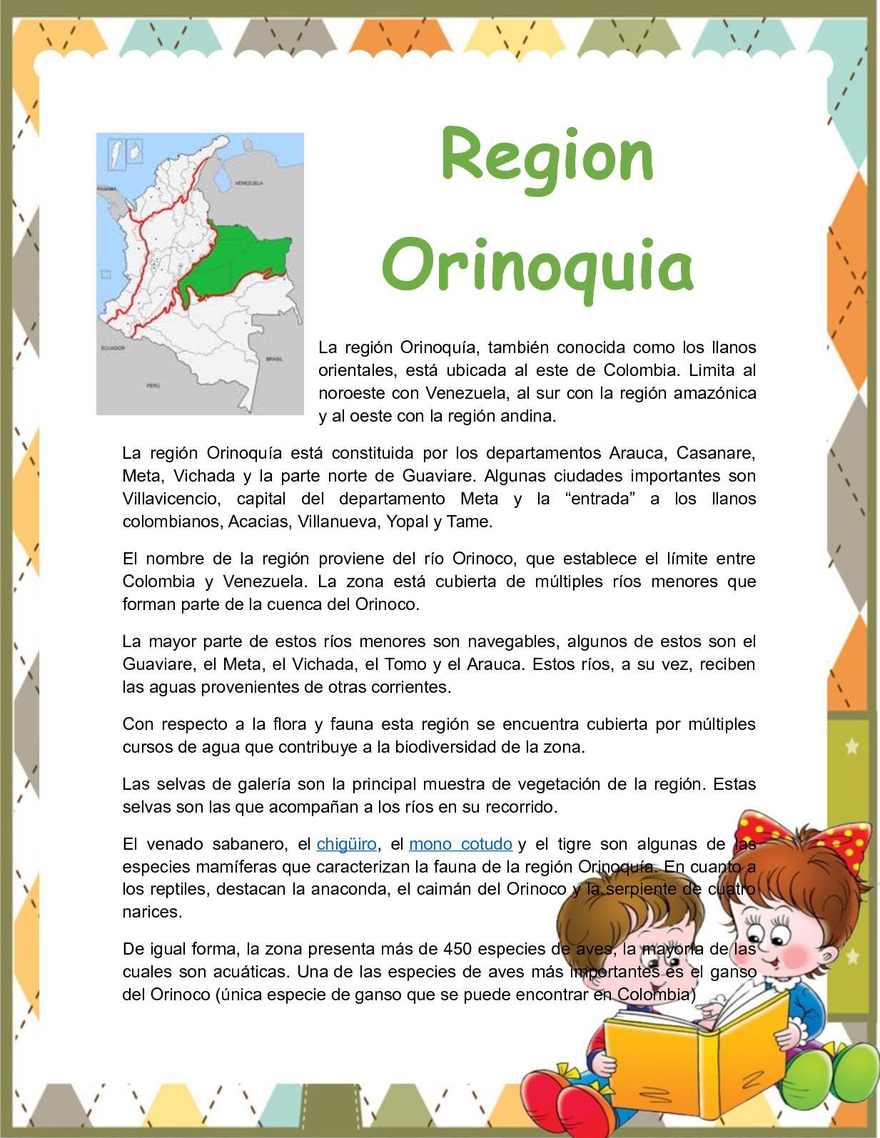1 La Literatura Infantil En La Región Cultural Orinoquia En concernant Nombre De Region