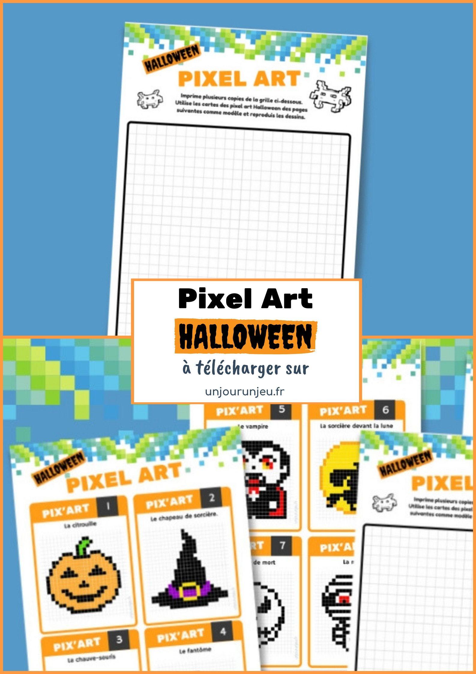 10 Fiches De Pixel Art D'halloween À Télécharger tout Jeu De Coloriage Pixel