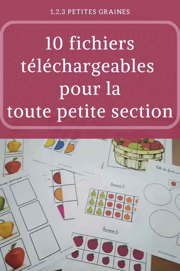 10 Fichiers Téléchargeables Toute Petite Section | Activité serapportantà Jeux Gratuit Maternelle Petite Section