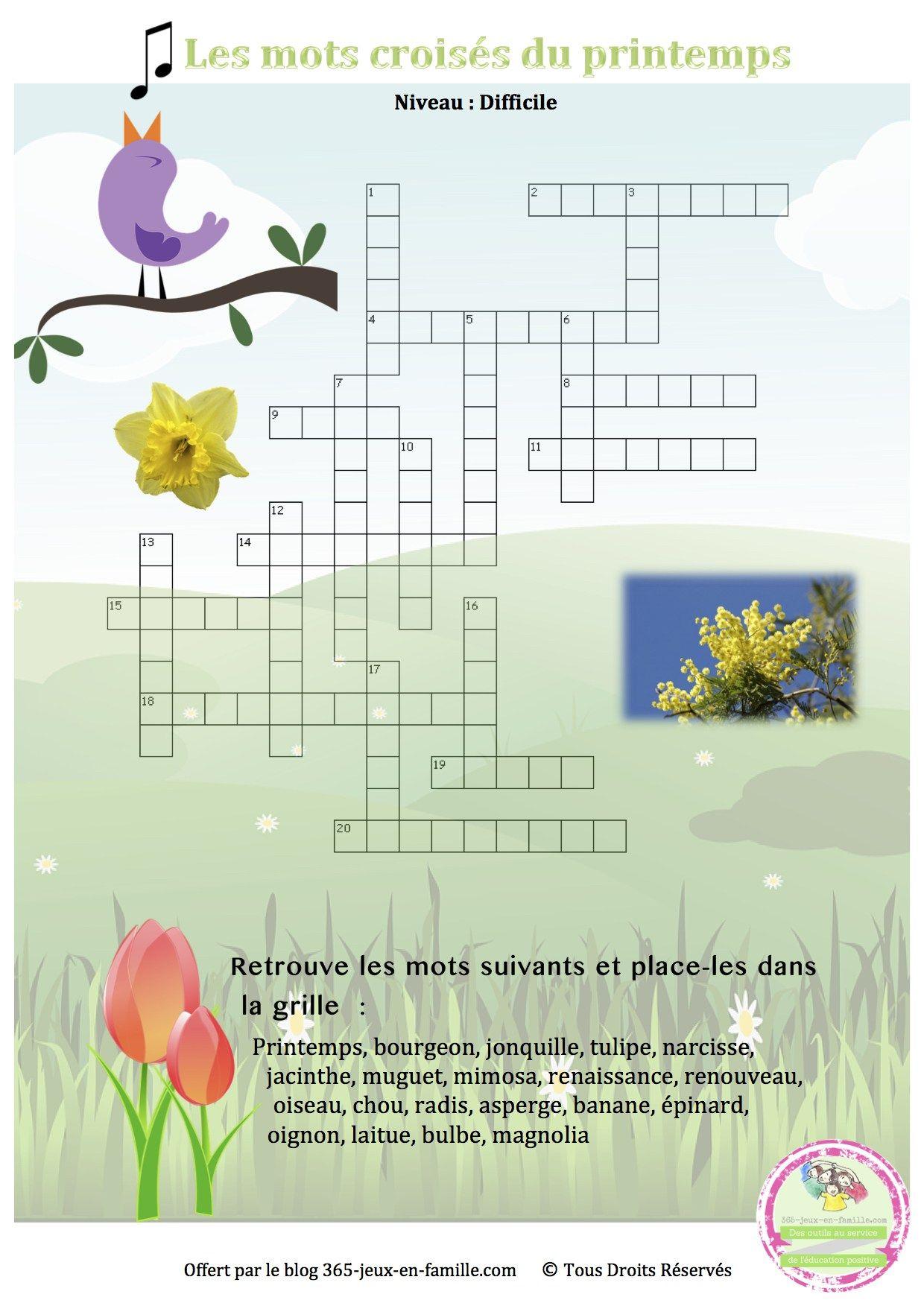 12 Jeux Gratuits À Imprimer Pour Le Printemps | Crossword tout Jeux Gratuit De Mots