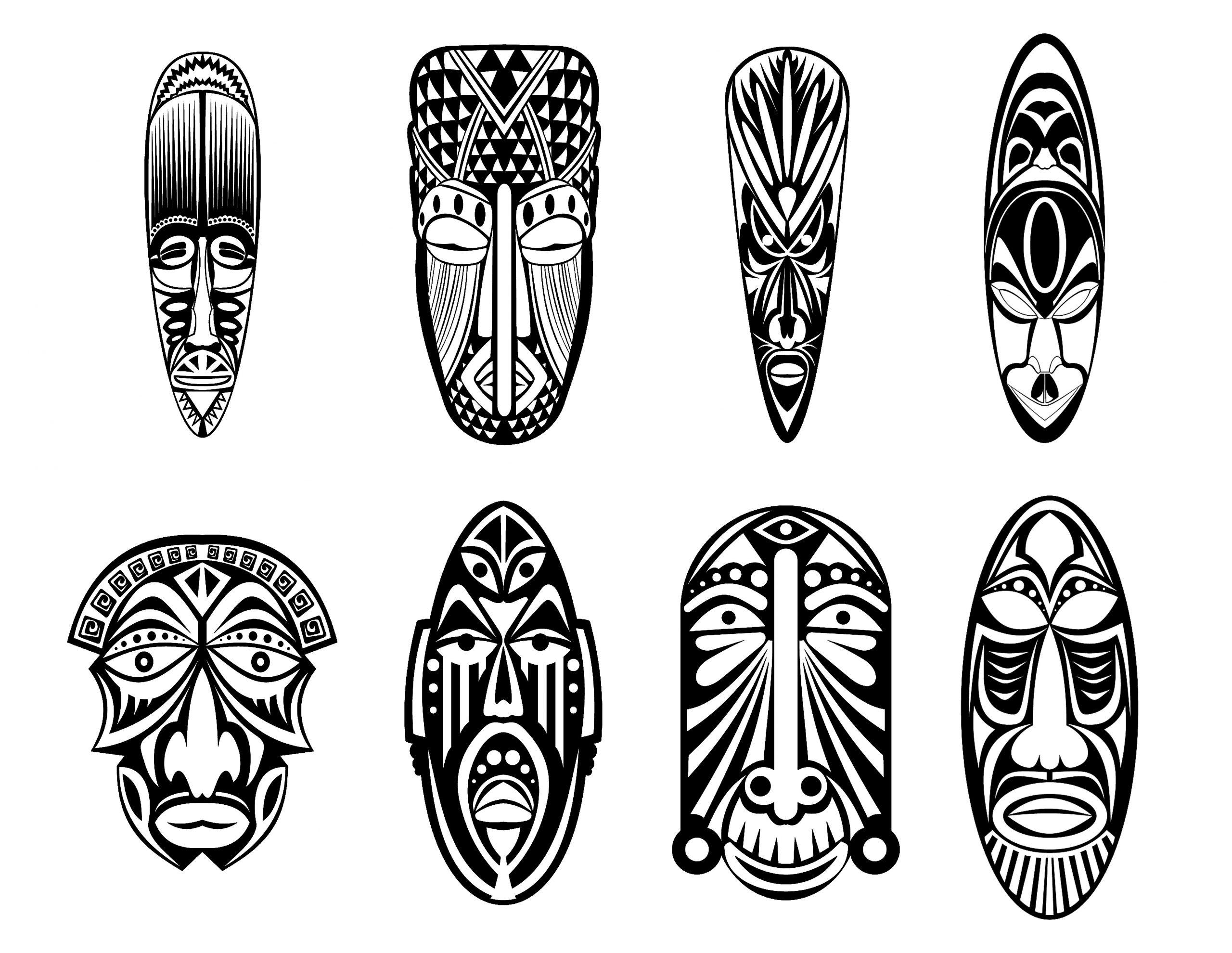 12 Masques Africains - Afrique - Coloriages Difficiles Pour serapportantà Dessin Africain A Colorier