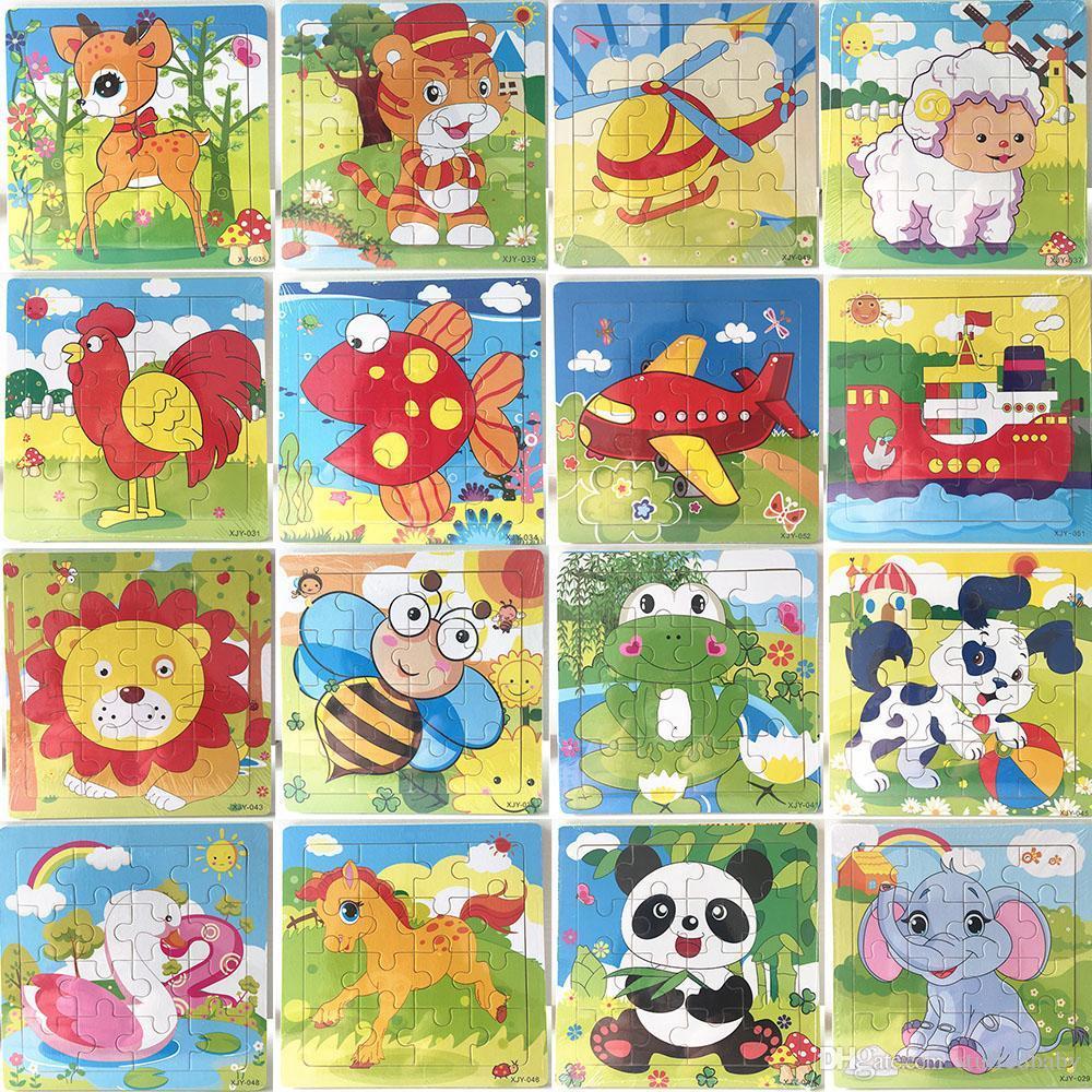 16 Pièces En Bois Puzzle Maternelle Bébé Jouets Enfants Animaux En Bois 3D  Puzzles Enfants Building Blocks Drôle Jeu Jouets Éducatifs intérieur Puzzle En Ligne Maternelle