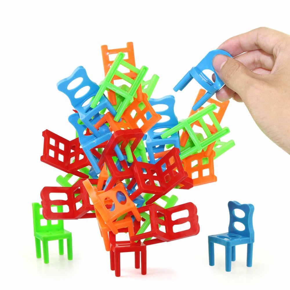 18 Pièces/ensemble Mini Chaises Empilables Jeu Bloc Balance pour Jeu Interactif Enfant