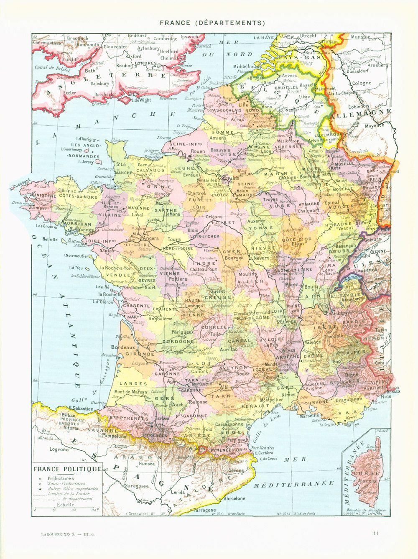 1933 Carte France Historique Départements Planche Originale dedans Carte De France Avec Départements Et Préfectures