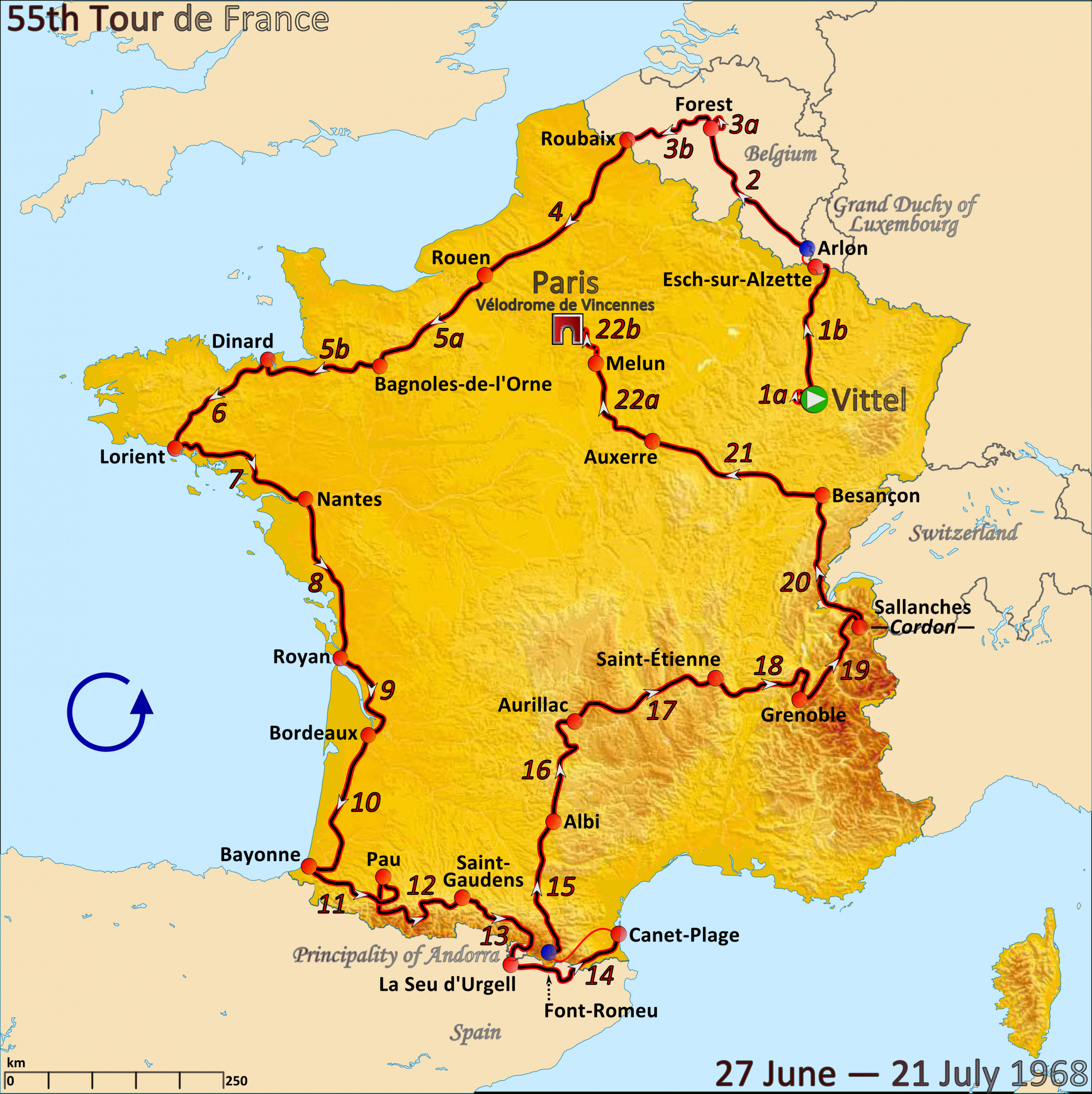 1968 Tour De France - Wikipedia serapportantà Carte De Fra