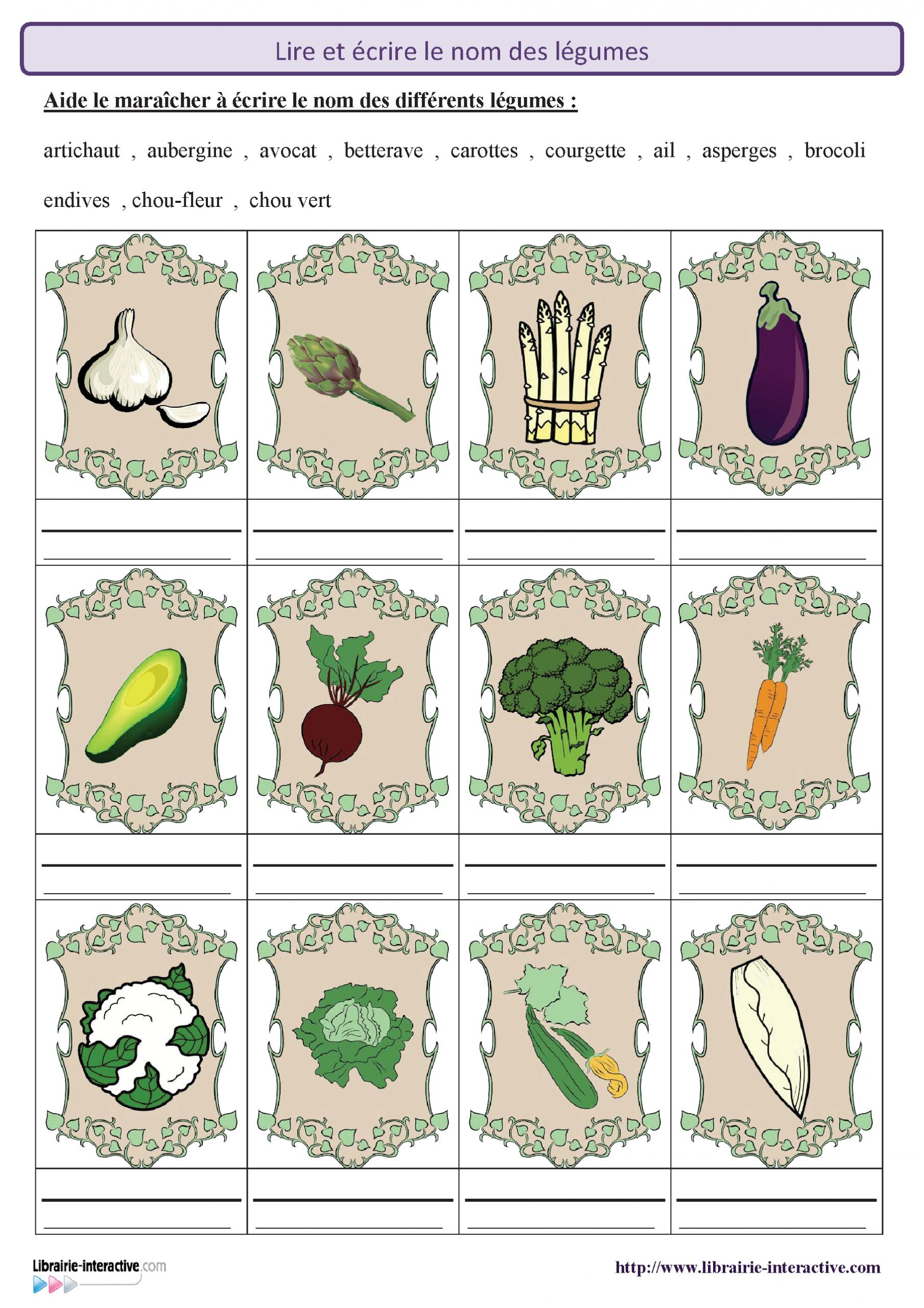 2 Fiches Pour Découvrir Et Reconnaître Les Légumes Puis encequiconcerne Apprendre Le Nom Des Animaux