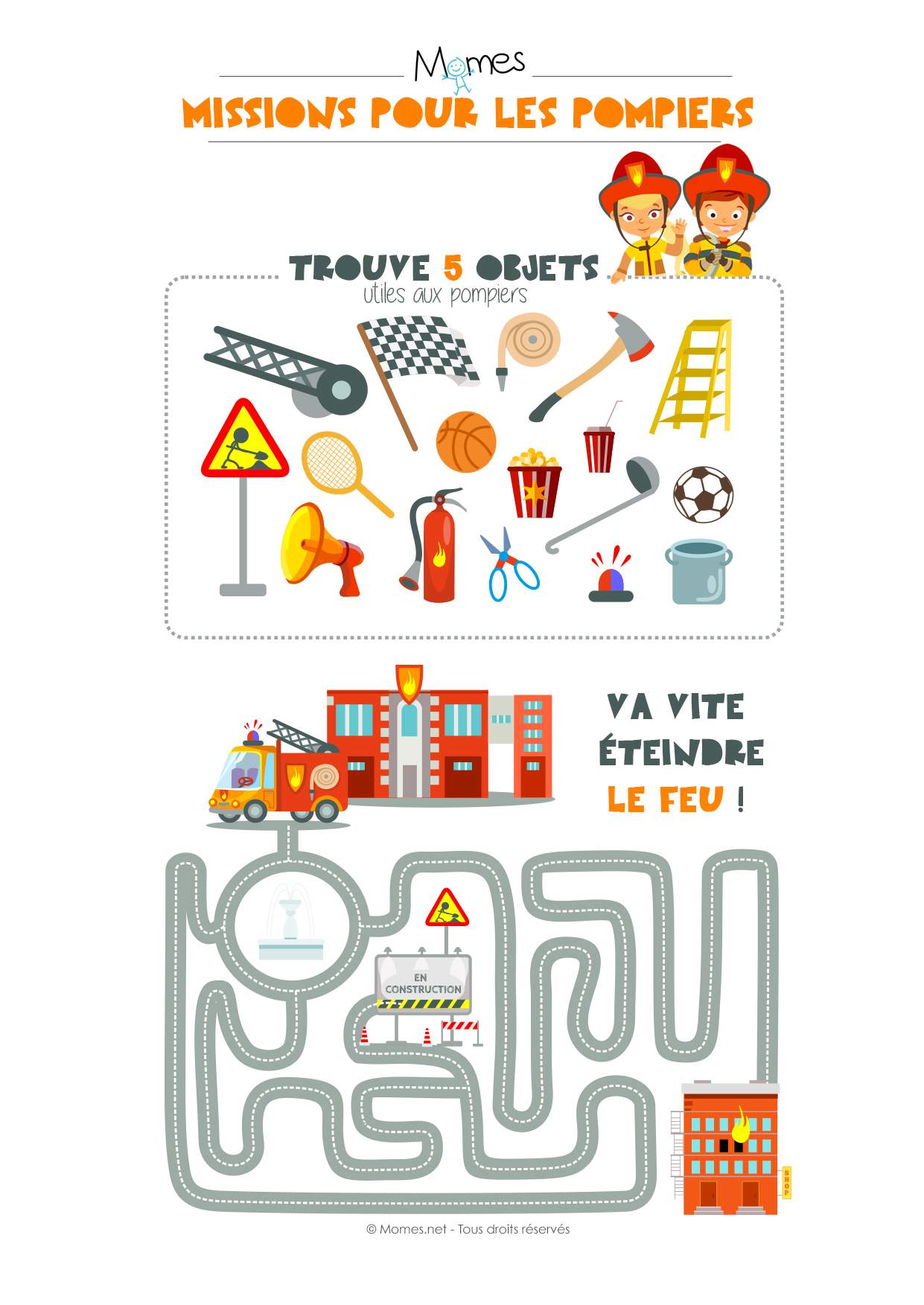 2 Missions Pour Les Pompiers - Momes destiné Jeux Educatif 4 Ans A Imprimer