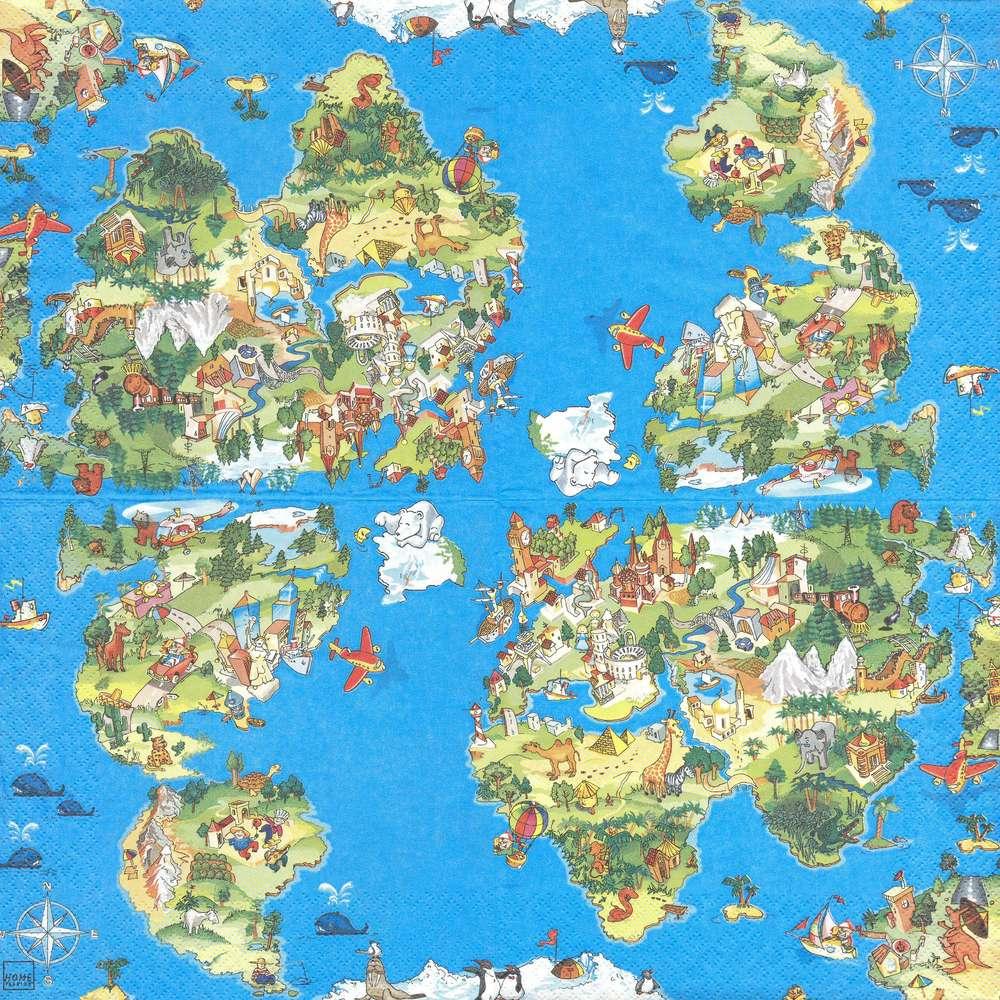2 Serviettes Papier Carte Du Monde Pour Enfant dedans Carte Du Monde Enfant