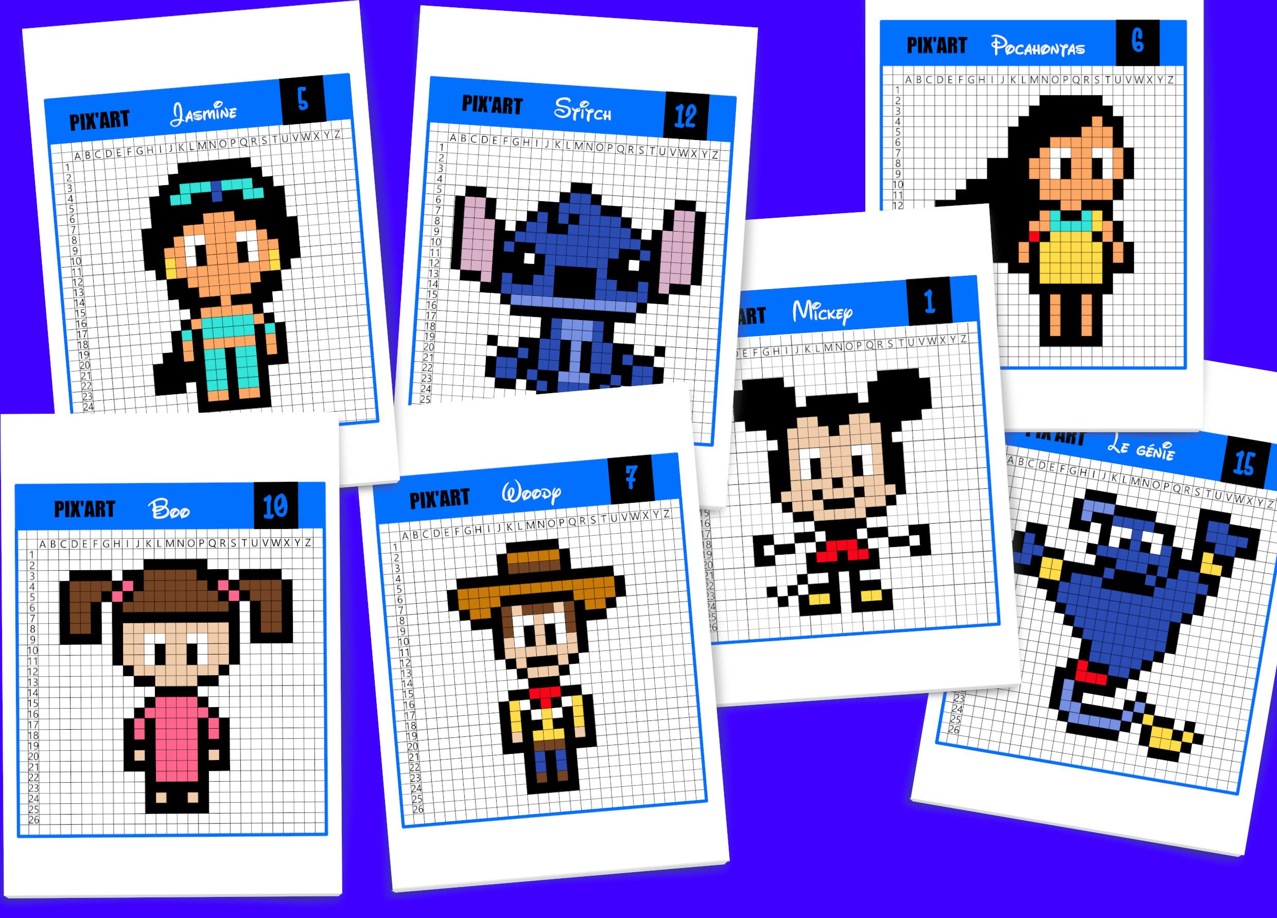 20 Modèles De Pixel Art Disney À Télécharger Gratuitement avec Jeu De Coloriage Pixel
