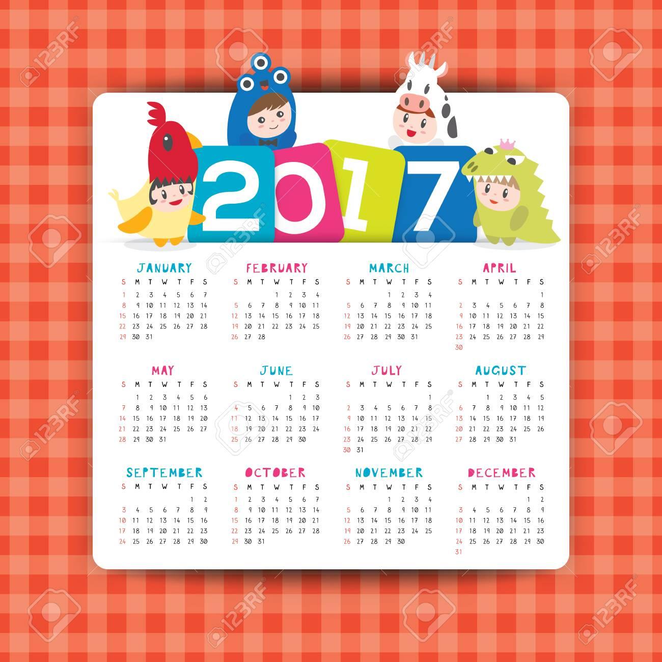 2017 Modèle De Calendrier Vectoriel Avec Dessin Animé Illustration  D'enfants En Costume, La Semaine Commence À Partir De Dimanche tout Calendrier Enfant Semaine