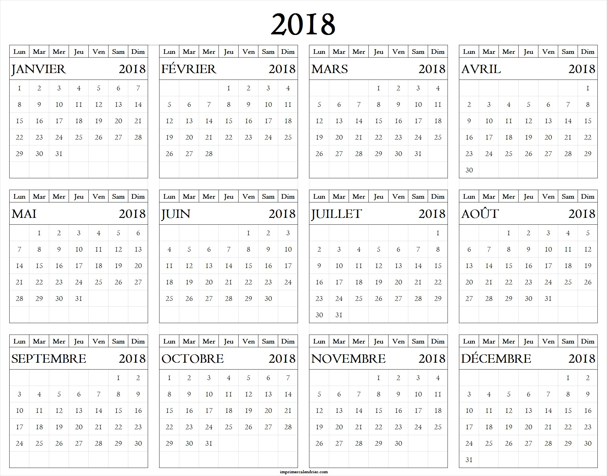 2018 Calendrier Archives - Page 7 Of 7 - Imprimer Calendrier serapportantà Calendrier Annuel 2018 À Imprimer