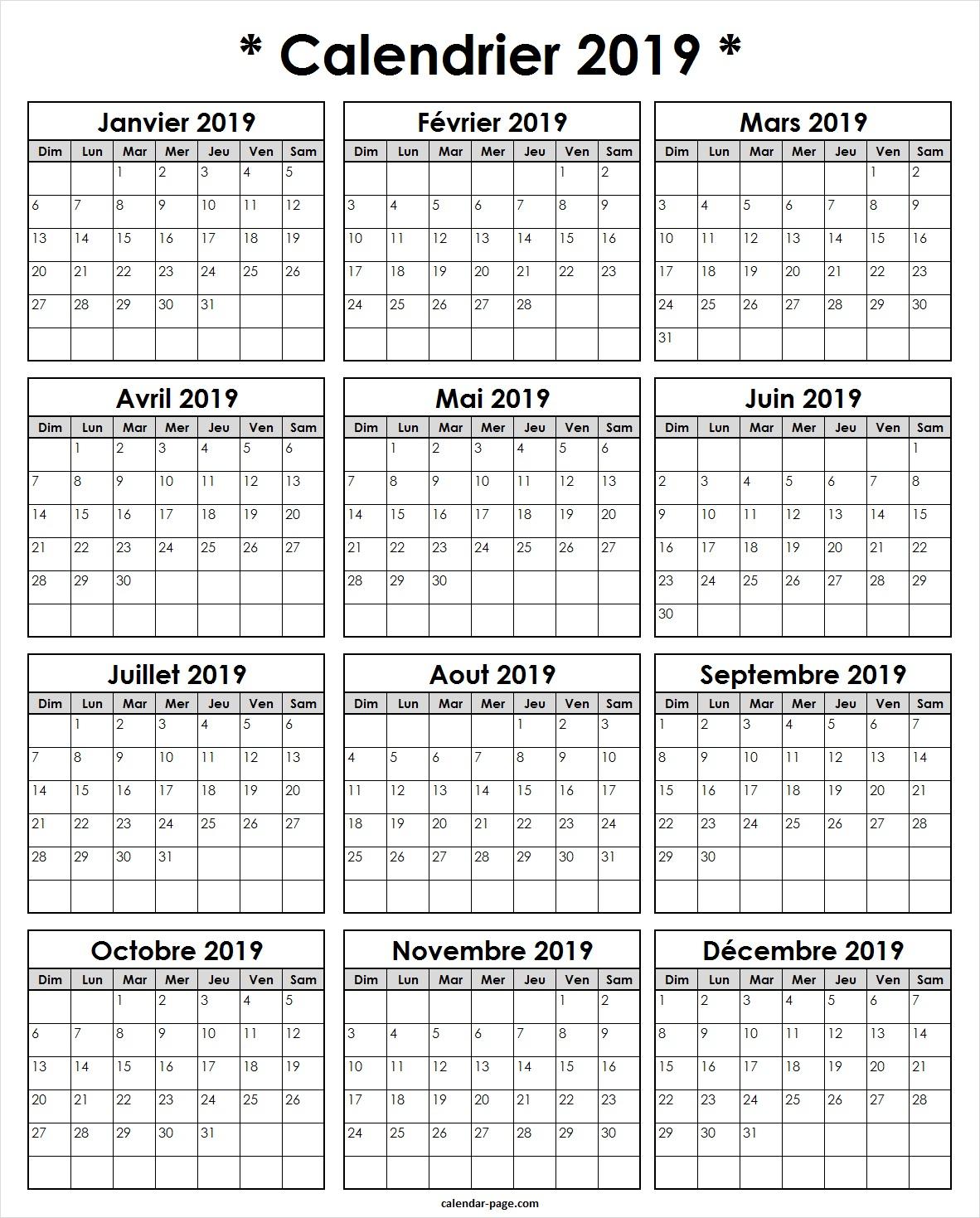 2019 Modeles De Calendrier | Calendrier Annually 2019 À Imprimer à Calendrier Annuel 2018 À Imprimer