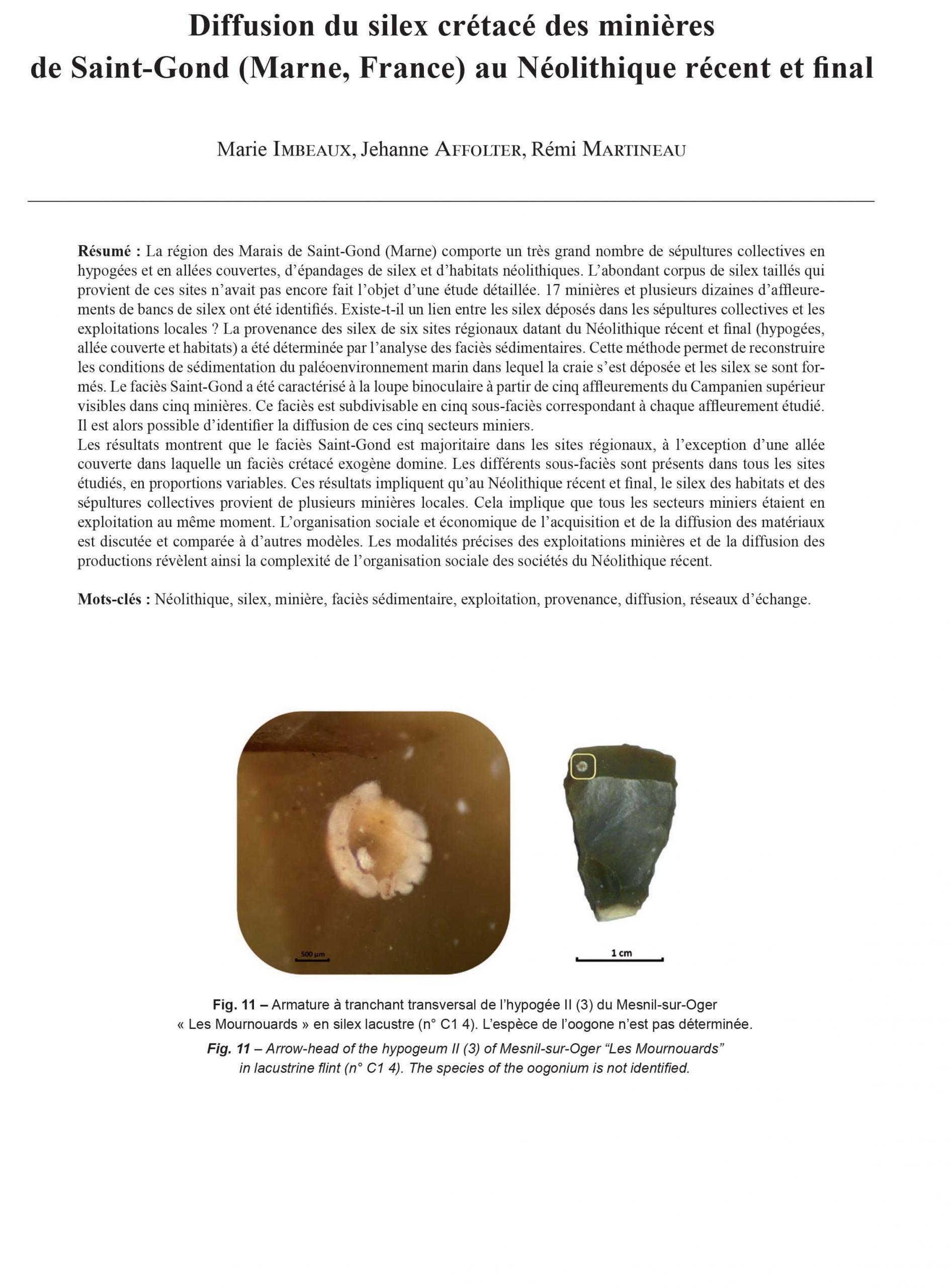 21-2018, Tome 115, 4, P. 733-767 - Imbeaux M., Affolter J., Martineau R.  (2018) – Diffusion Du Silex Crétacé Des Minières De Saint-Gond (Marne, encequiconcerne Region De France 2018