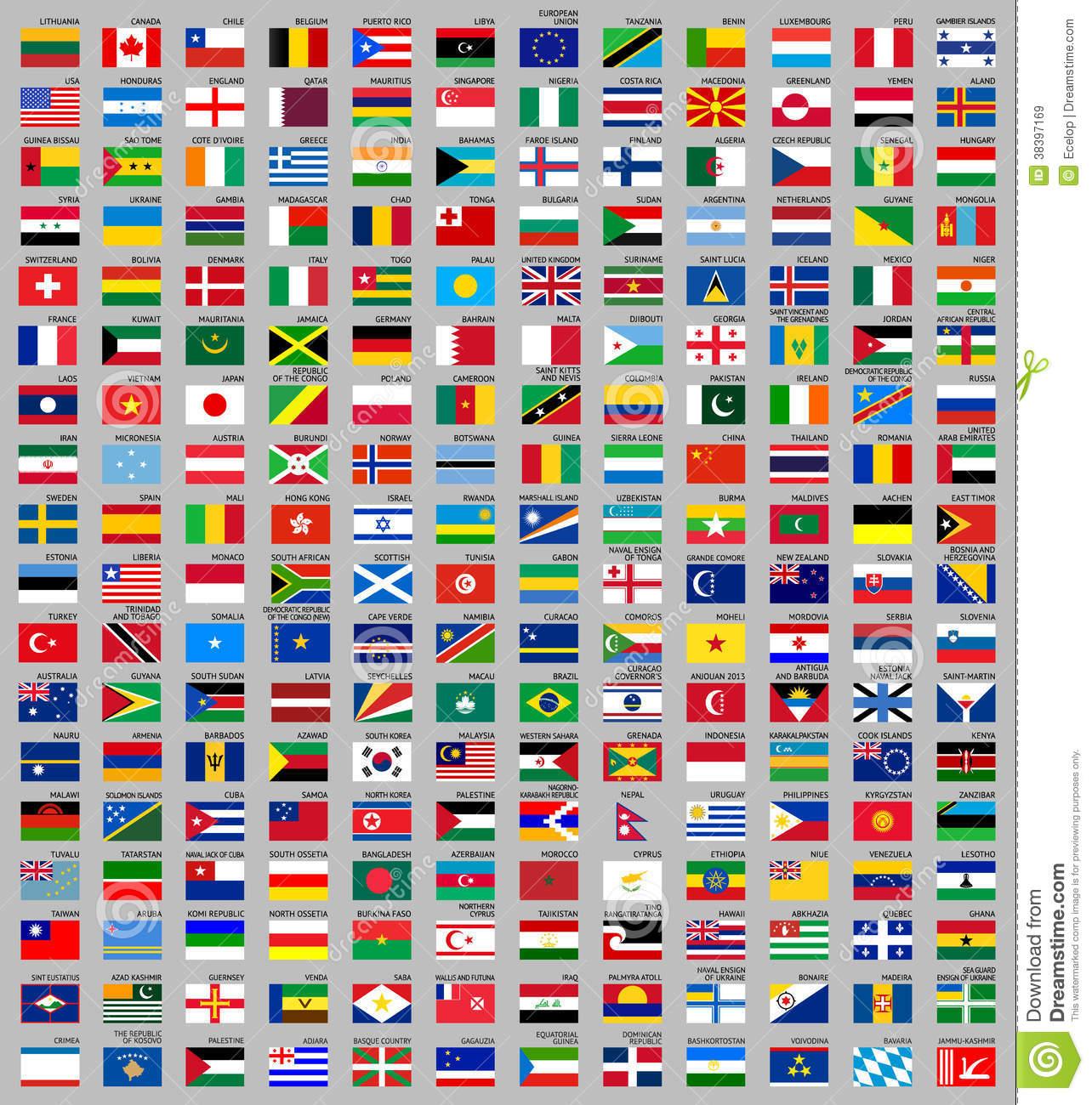 216 Drapeaux Du Monde Illustration De Vecteur. Illustration concernant Drapeaux Européens À Imprimer