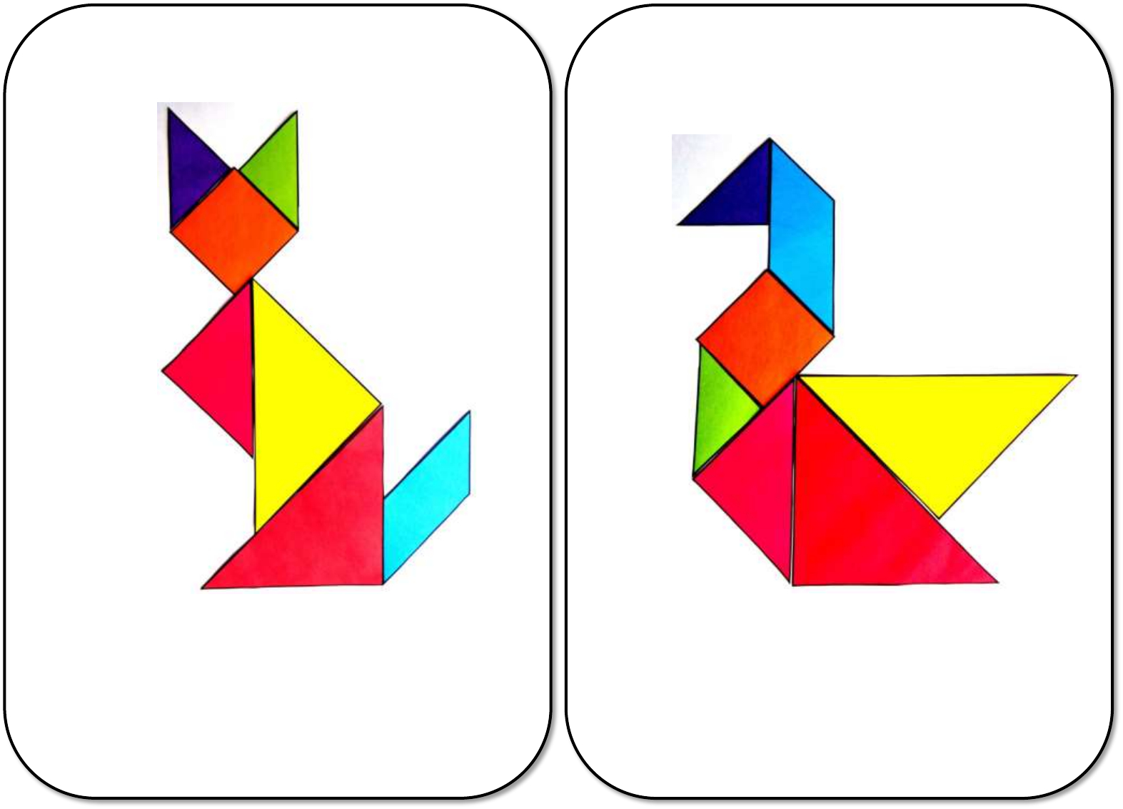 27 Animaux En Tangram Couleur Copy destiné Tangram Chat