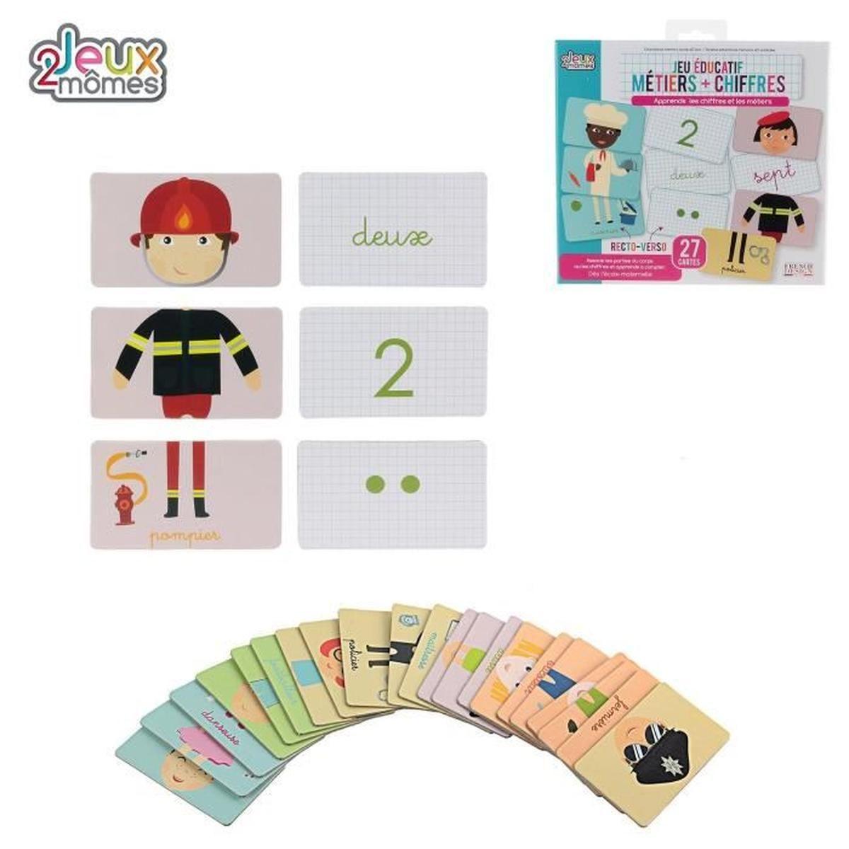 27 Cartes Educatives Metiers Et Chiffres - Apprendre Maternelle Compter -  300 à Jeu Educatif Maternelle