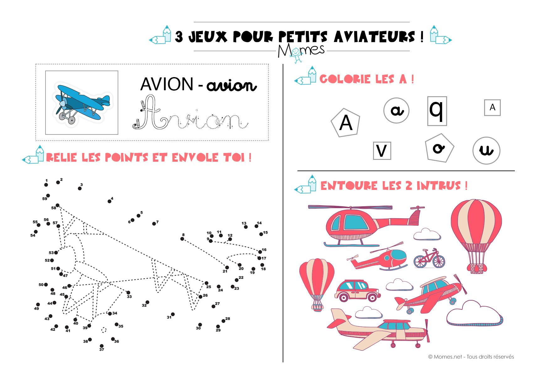 3 Jeux Pour Petits Aviateurs - Momes avec Jeux Educatif 4 Ans A Imprimer