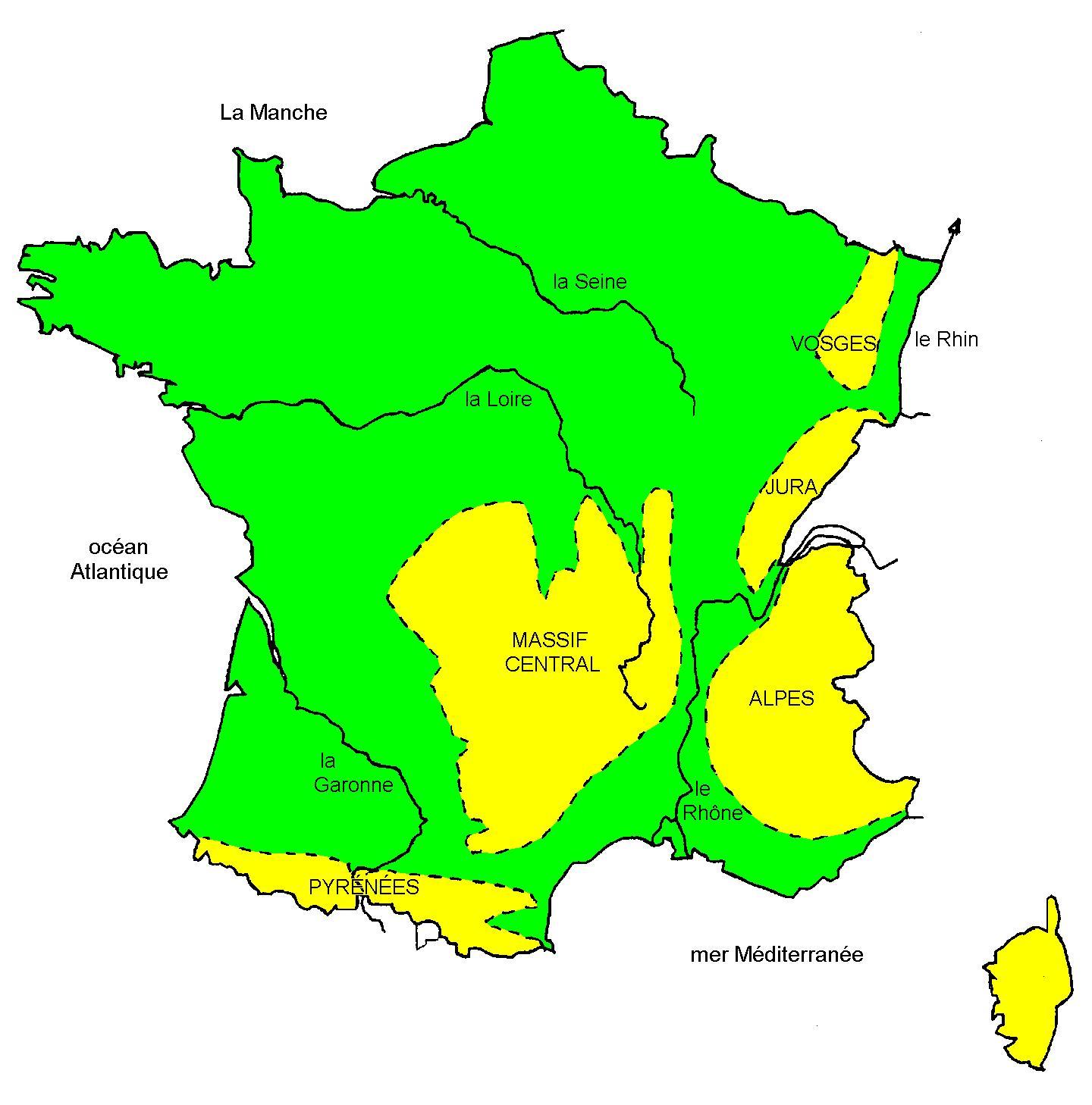 3-Les Grands Fleuves Et Reliefs De France - Kaouah dedans Carte Fleuve France