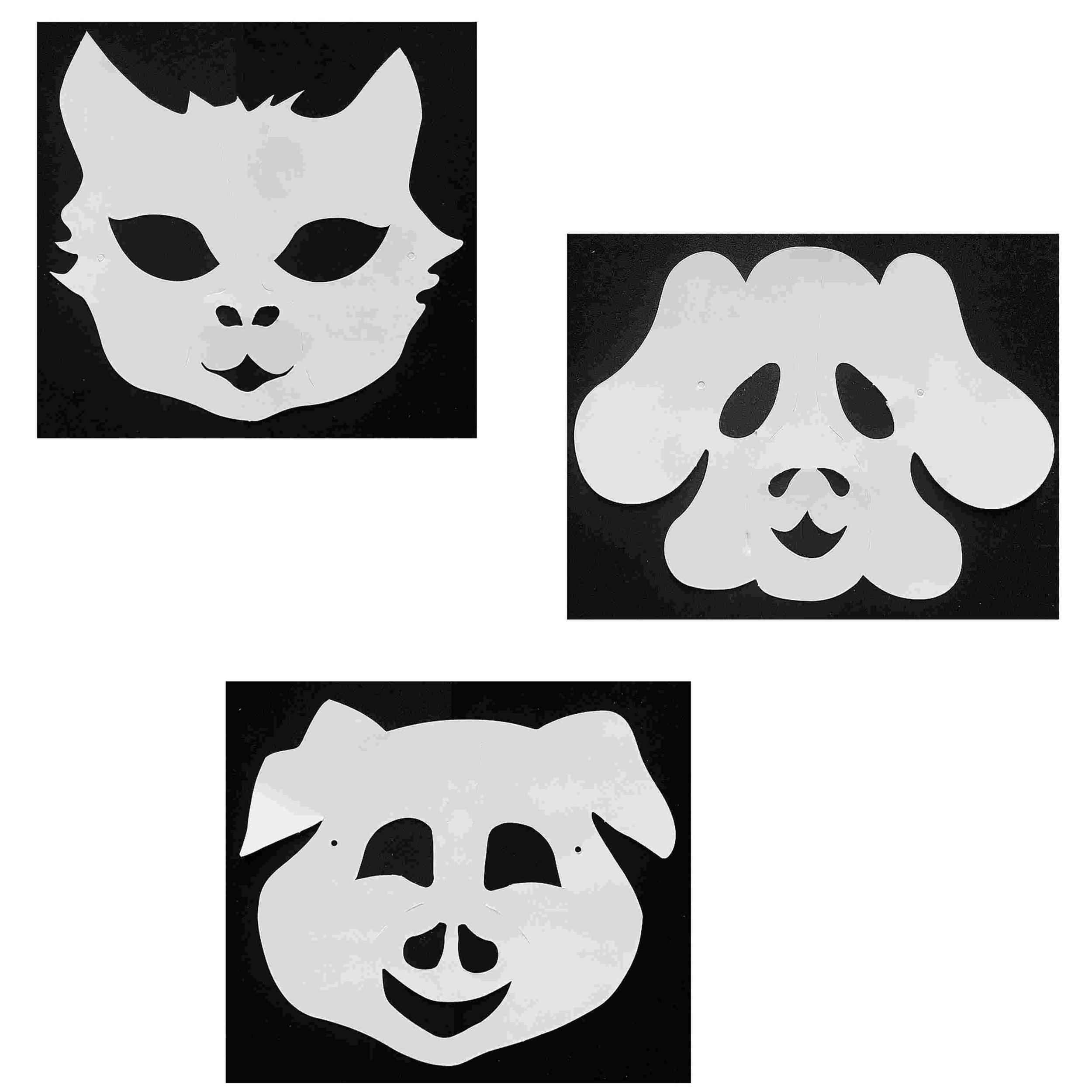 3 Masques Animaux À Décorer Avec Des Gommettes - Chat - Chien - Cochon serapportantà Masques Animaux À Imprimer