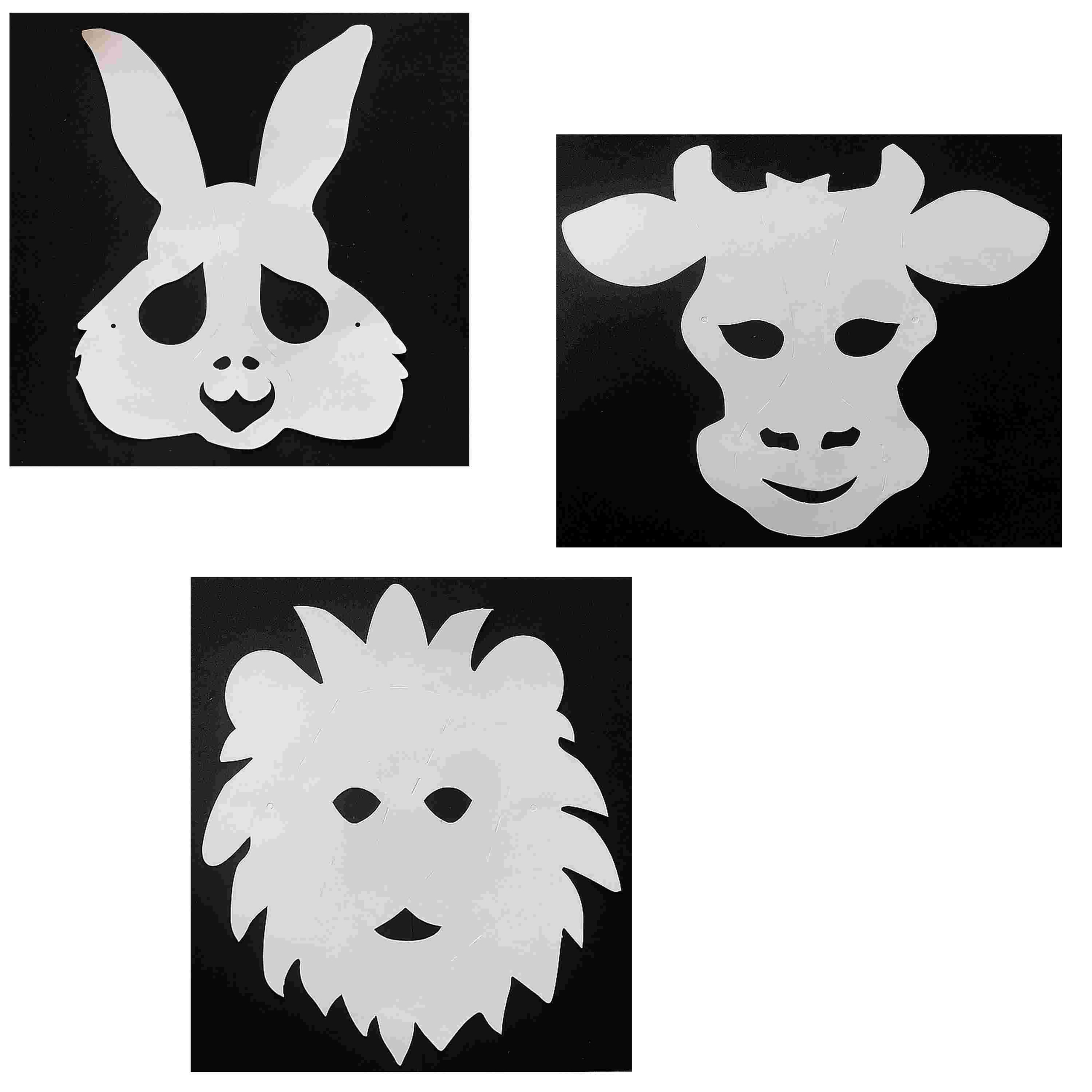 3 Masques Animaux À Décorer Avec Des Gommettes - Lion - Taureau - Lapin serapportantà Masques Animaux À Imprimer