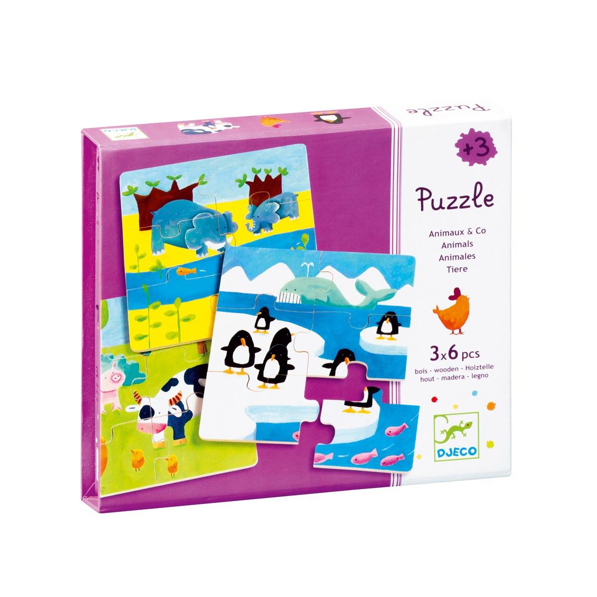 3 Puzzles De 6 Pièces Animaux dedans Puzzle Gratuit 3 Ans