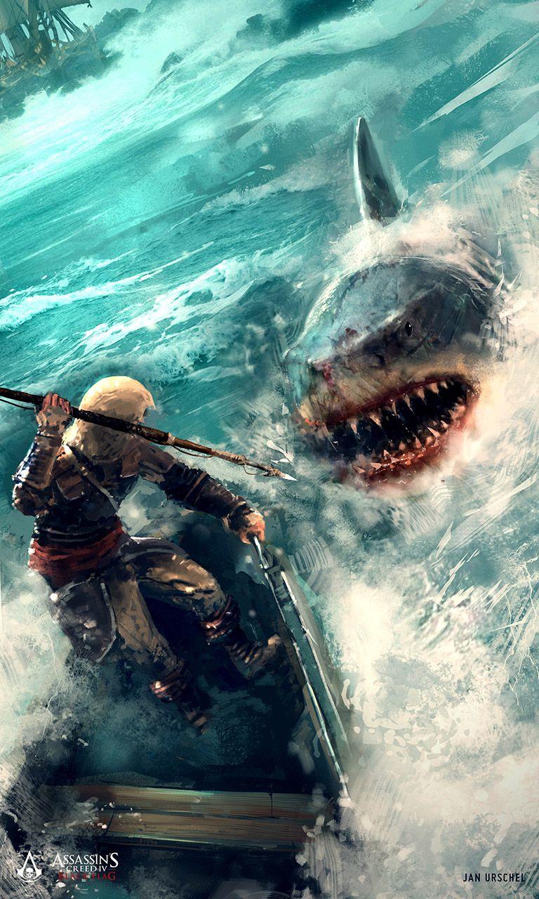 30+ Concept Arts Du Digital Painter Ian Urschel | Акула intérieur Requin Jeux Video