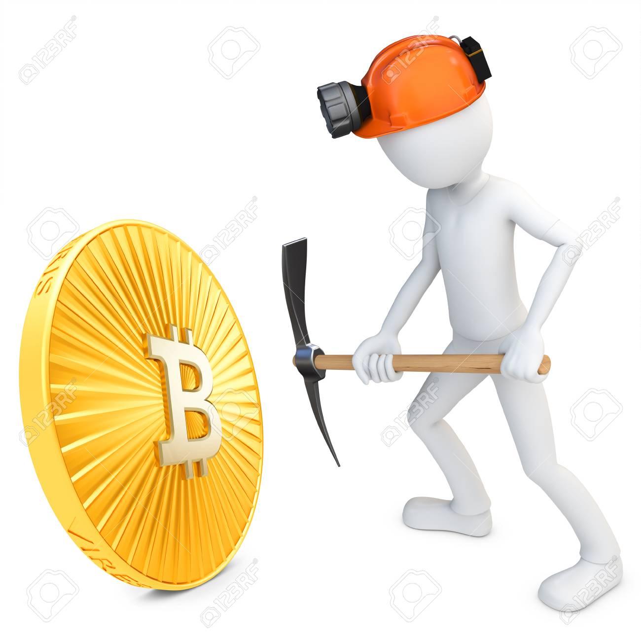3D Man Minière Mineur D'or Pièce Bitcoin Sur Fond Blanc dedans Mineur D Or