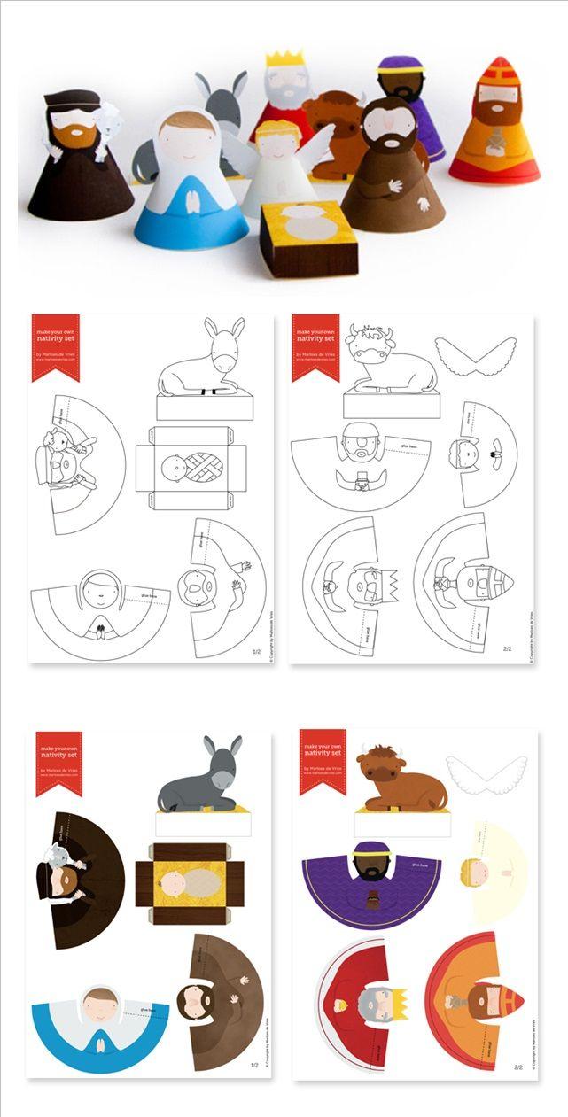 3D Paper Printable Nativity Scene | Bricolage Creche De Noel à Creche A Imprimer