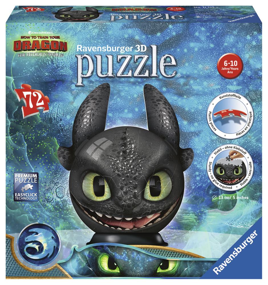 3D Puzzleball Dragons 3 Krokmou Avec Oreilles, 72 Pièces pour Puzzle 5 Ans En Ligne