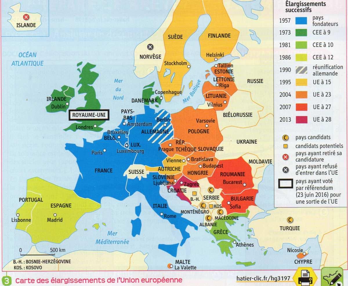 3E / L'union Européenne : Construction, Caractéristiques Et destiné La Carte De L Union Européenne