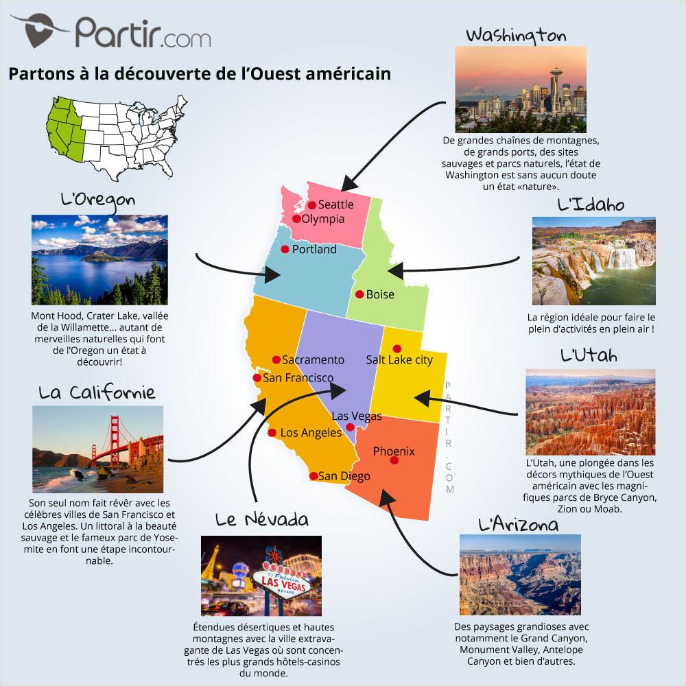 4 Cartes De L'ouest Américain Pour Ne Rien Manquer En 2020 intérieur Carte De France Grande Ville