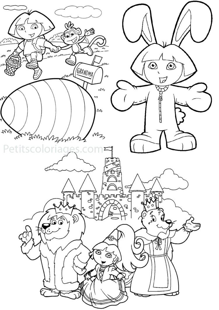4 Coloriages Dora Oeuf Paques, Lapin, Princesse Sur intérieur Coloriage Dora Princesse