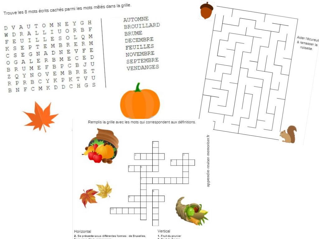 4 Jeux Autour De L'automne (Mots Croisés, Mots Mêlés pour Mots Fleches Enfants
