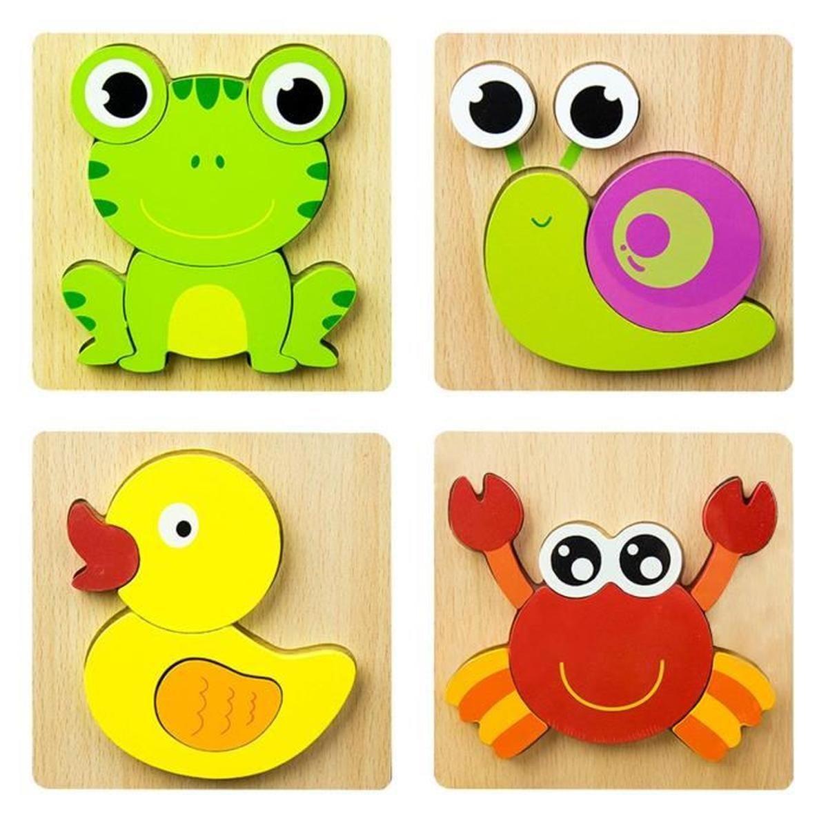 4Pcs Jouet Bebe - Puzzles En Bois, Jouet Enfant 1 2 3 4 Ans intérieur Jeu Educatif 4 Ans