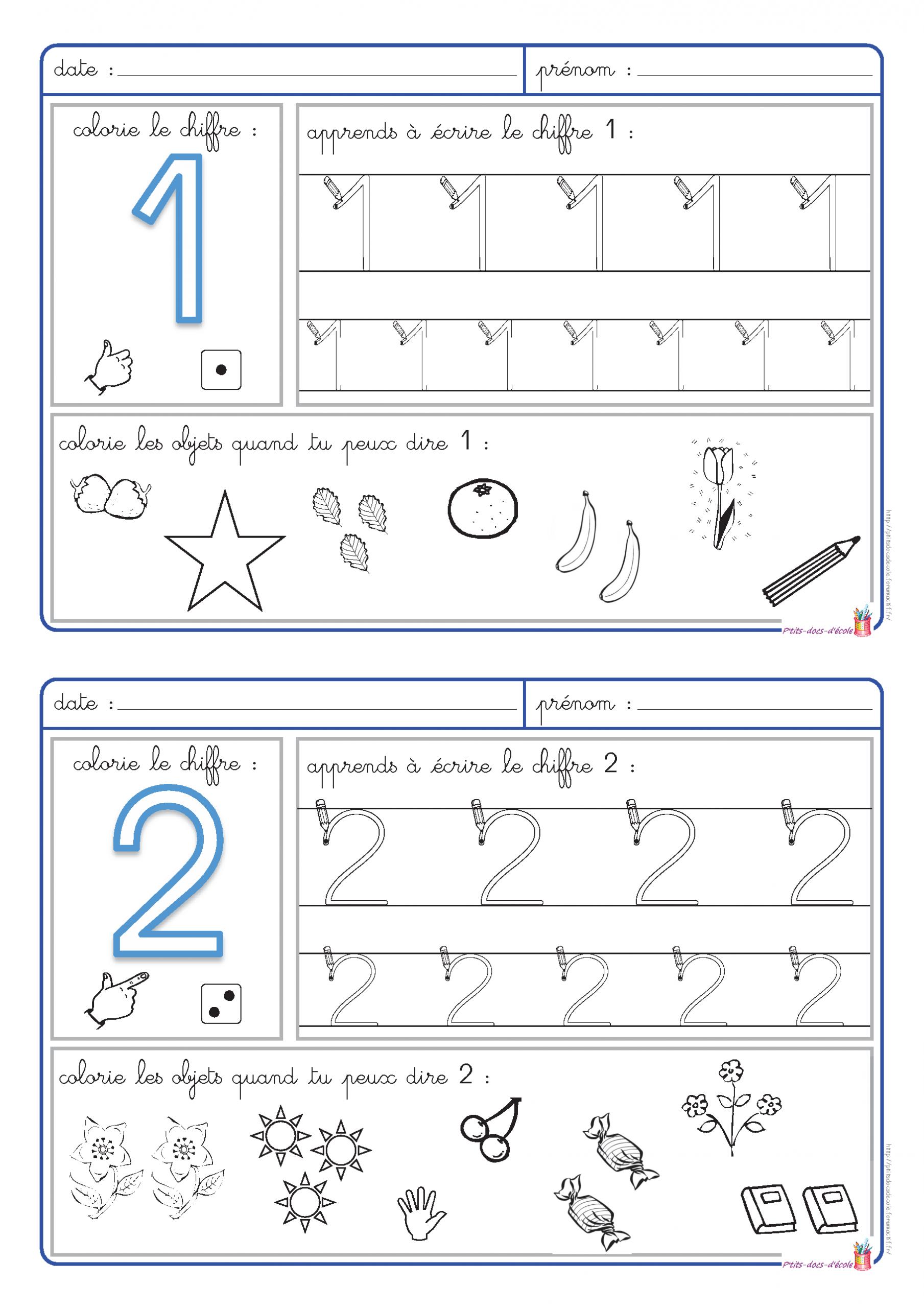 5 Fiches Pour Apprendre À Écrire Les Chiffres De 1 À 5 Et intérieur Apprendre À Écrire Les Chiffres En Maternelle