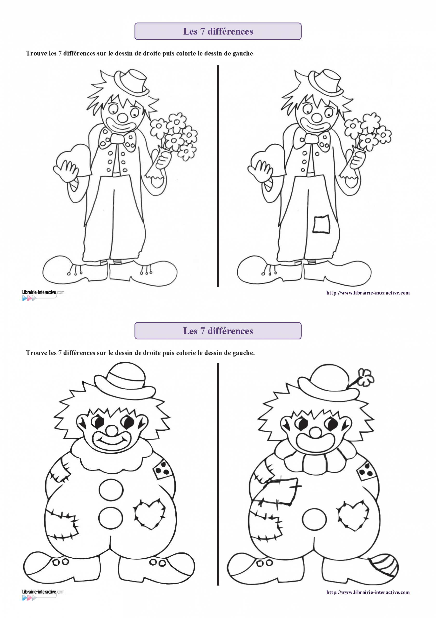 6 Fiches Avec Des Personnages De Carnaval (Clown, Arlequin dedans Chercher Les Differences