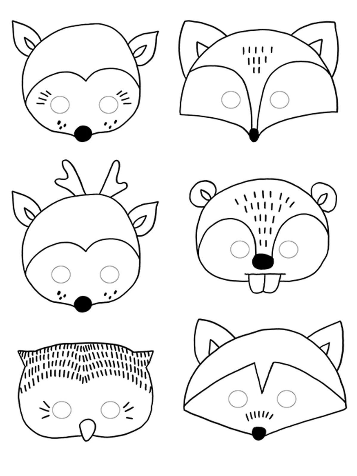 6 Masques À Colorier Forêt Pour Enfant, Décoration Anniversaire Et Fêtes À  Thème Sur Vegaoo Party intérieur Masque Enfant A Colorier