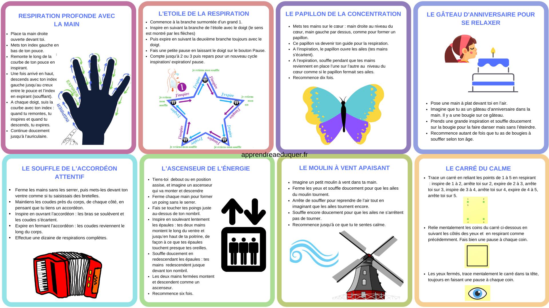 8 Cartes Avec Des Exercices De Respiration Pour Les Enfants à Exercice Enfant 4 Ans