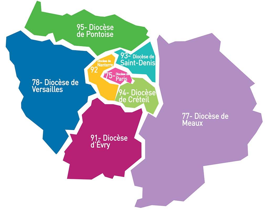 8 Diocèses D'île-De-France- Chantiers Du Cardinal serapportantà Plan De La France Par Departement