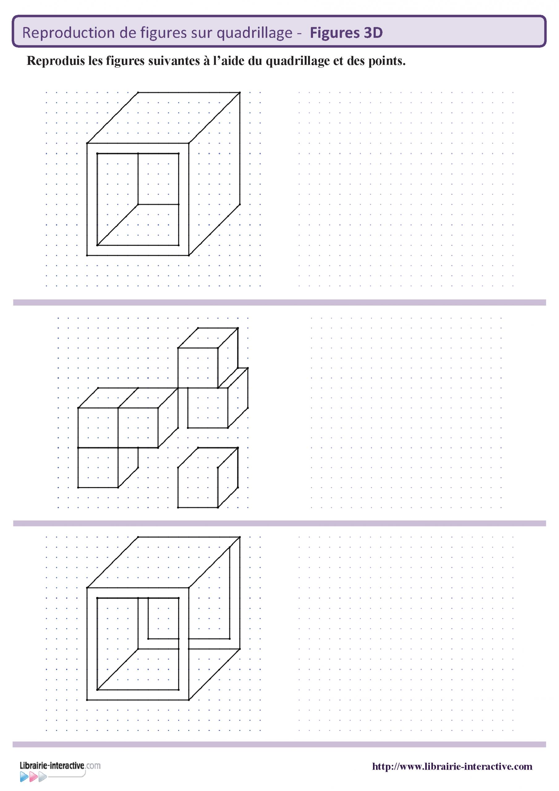 8 Fiches Avec Chacune 3 Figures En 3 Dimensions À Reproduire destiné Reproduction De Figures Sur Quadrillage