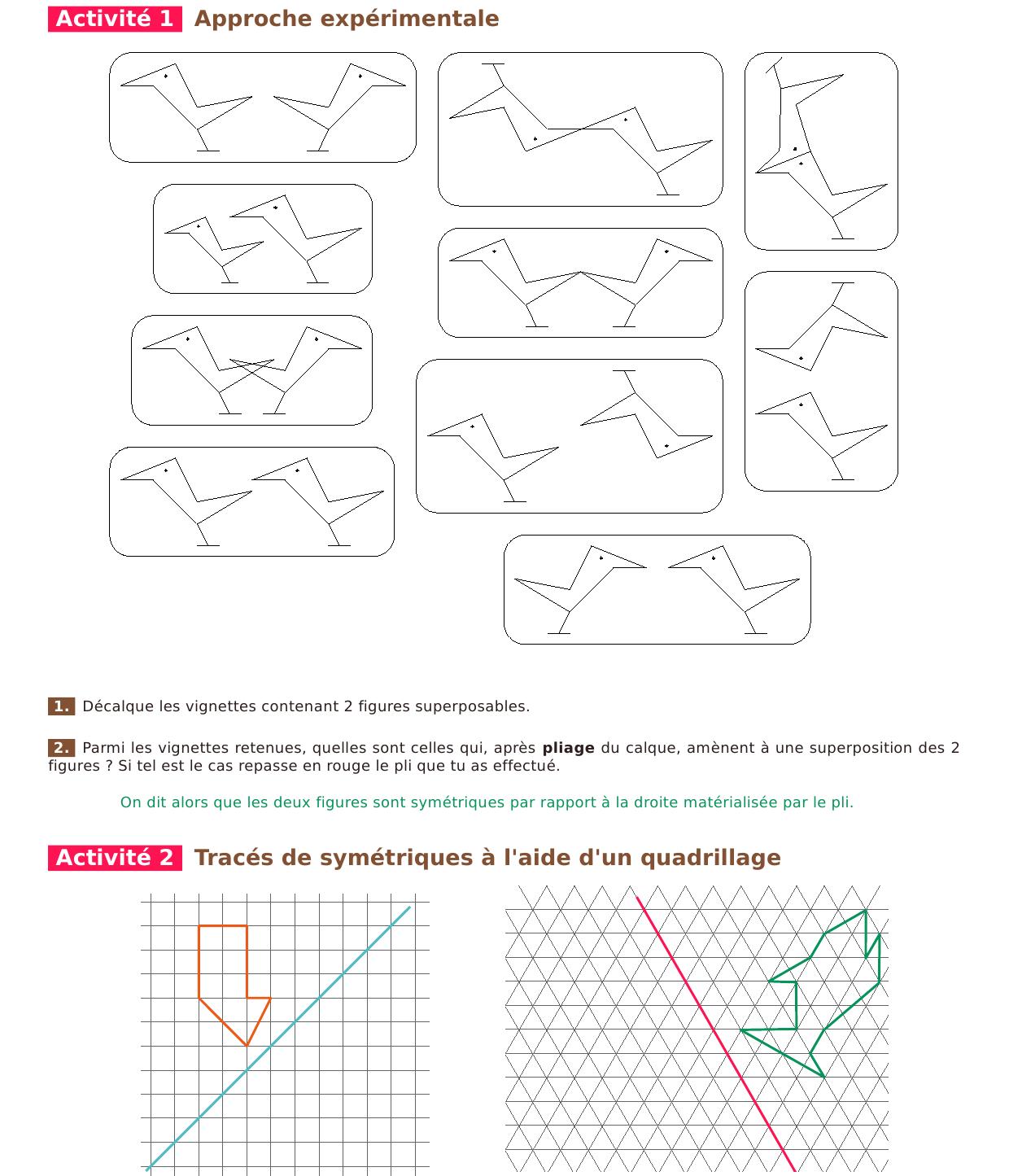 8 - Symétrie Axiale serapportantà Symétrie Quadrillage