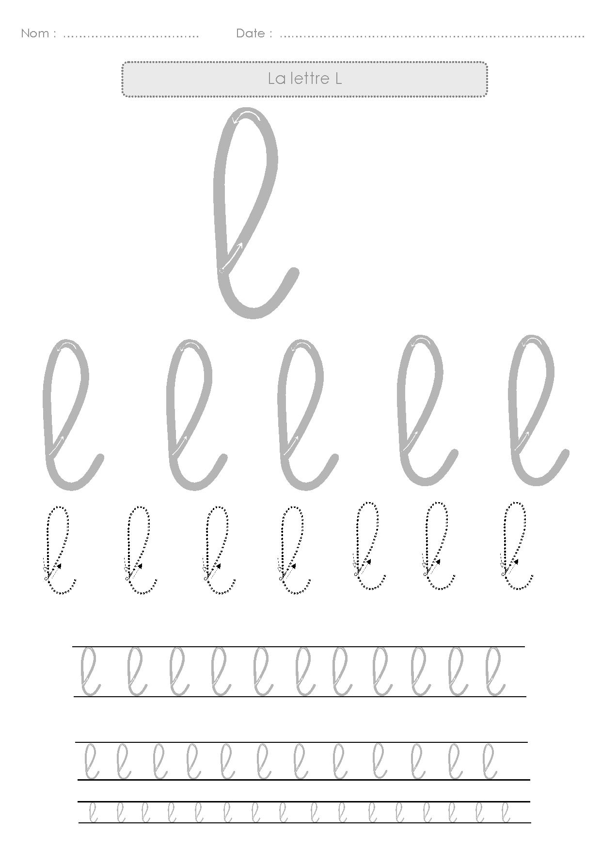 9 Fiches D'écriture Pour S'entraîner À L'écriture Cursive En encequiconcerne Alphabet En Pointillé A Imprimer