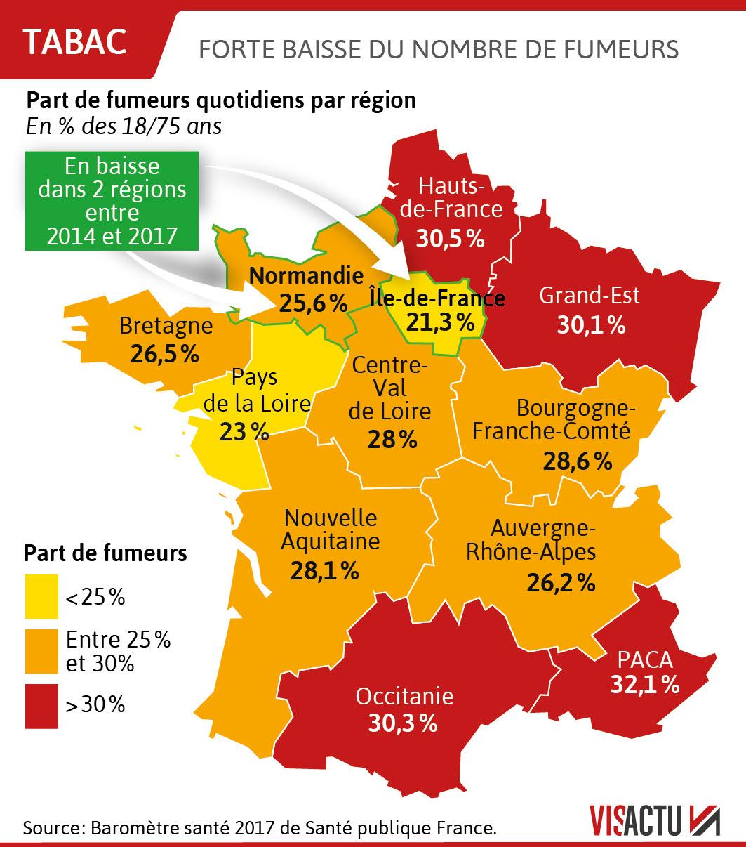 A La Une | Dans Quelles Régions Fume-T-On Le Plus ? pour Nombre De Régions En France 2017