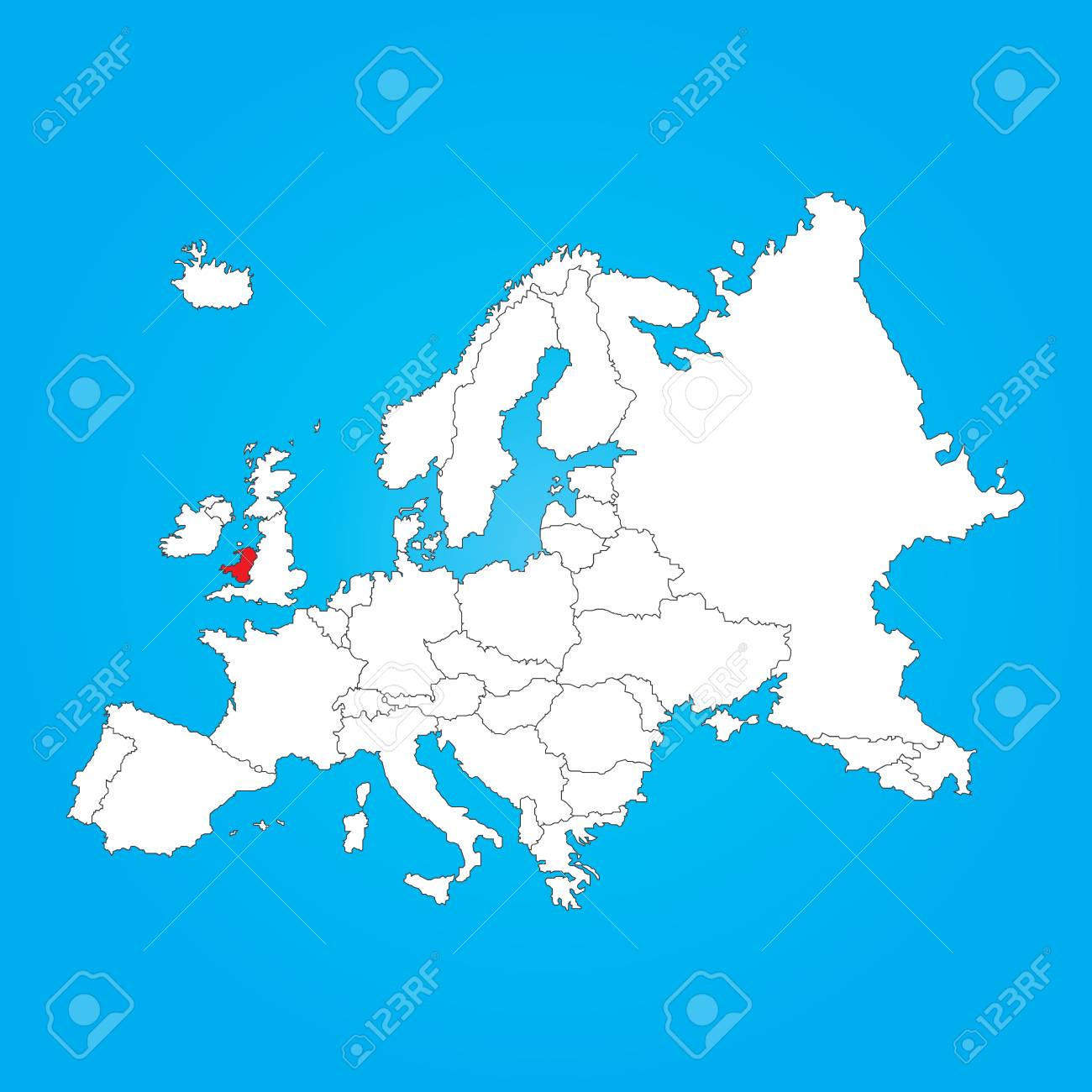 A Map Of Europe With A Selected Country Ofwales intérieur Carte D Europe Avec Pays
