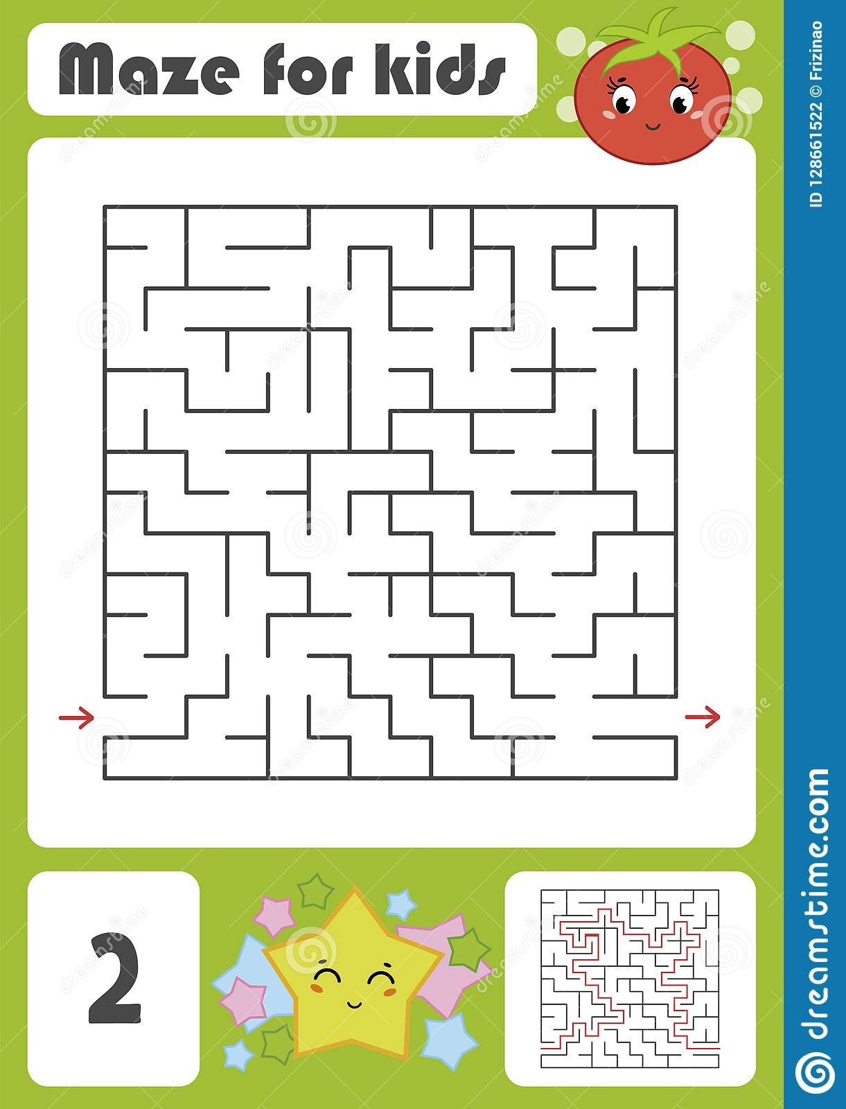 A Square Labyrinth With A Cartoon Character. Pretty Tomato à Labyrinthe A Imprimer