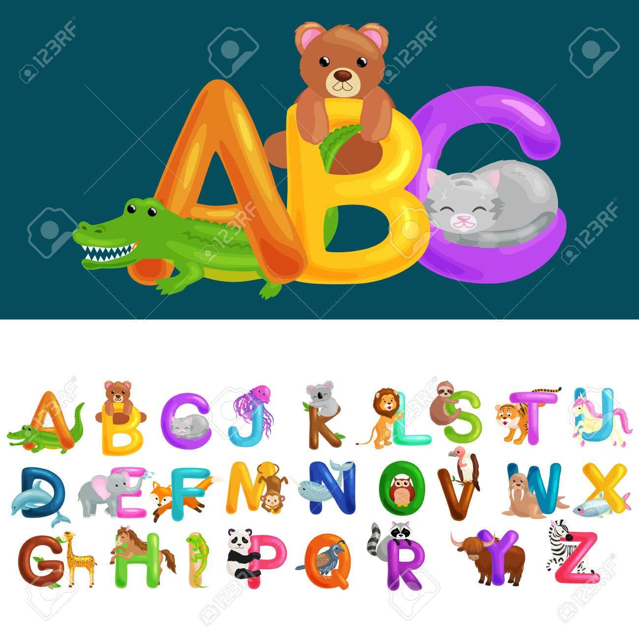 Abc Lettres D'animaux Pour Les Enfants De L'école Ou La Maternelle Alphabet  Éducation Isolé. Lettres Abc Pour Les Enfants Abécédaire Apprentissage. Le avec Apprendre Les Animaux Pour Bebe
