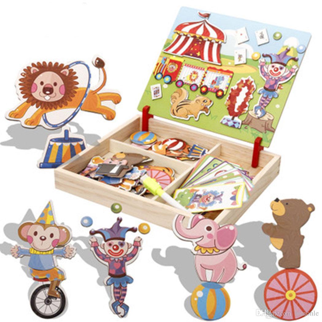 Acheter 5 Jeux Enfants En Bois Puzzles Bâtiments De Cirque Multifonctionnel  Magnétique Enfants Puzzle Planche À Dessin Jouets Éducatifs De $74.38 Du pour Jeux Enfant Dessin