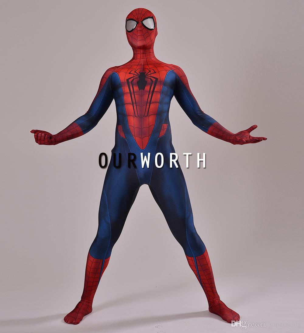 Acheter Costume Spider Man 3D Imprimer Spiderman Cosplay Costume Z  Costume Spandex Homme Costume Super Héros Comique Fait Sur Mesure De $69.82  Du encequiconcerne Tete Spiderman A Imprimer