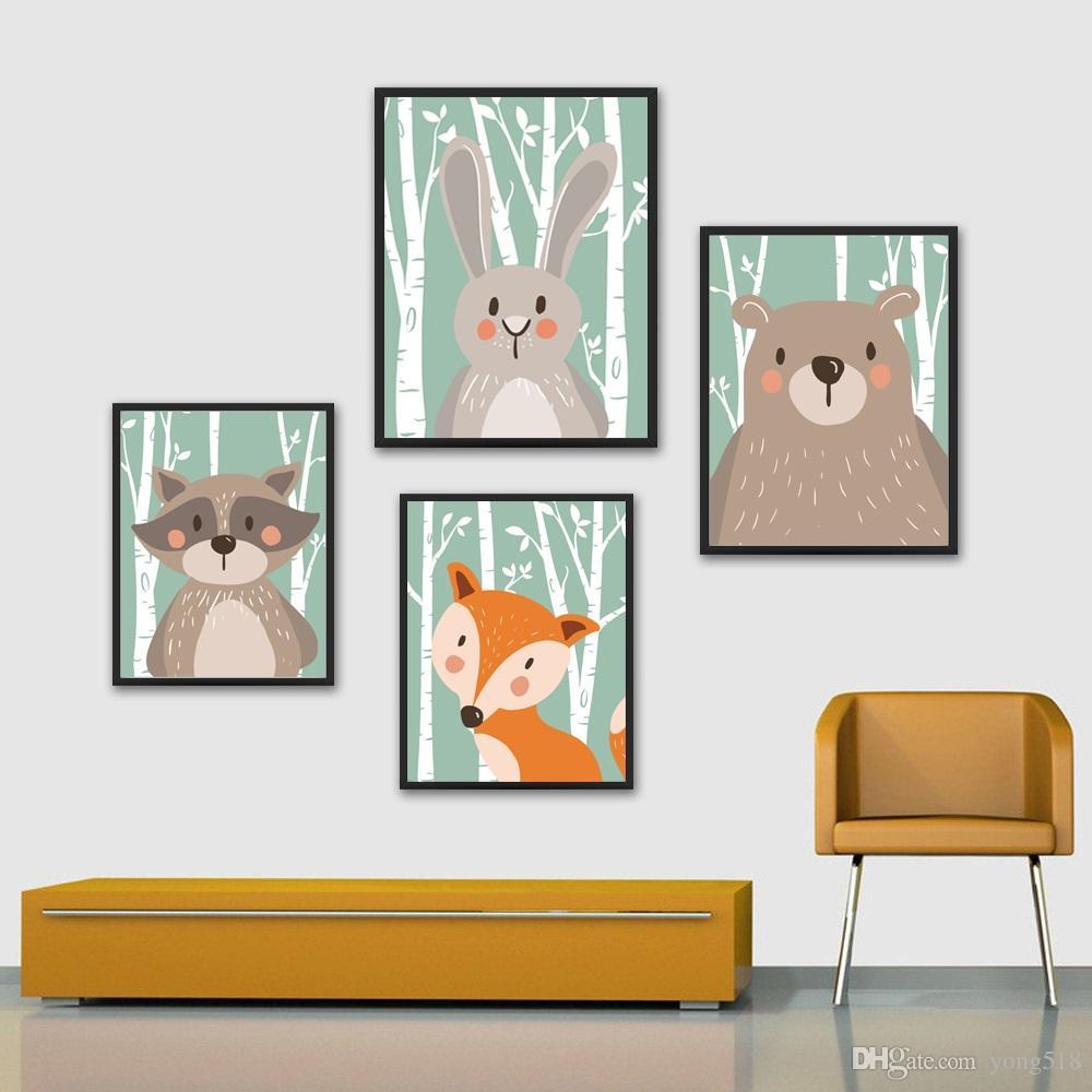 Acheter Dessin Animé Animal Lapin Ours Fox Art Minimaliste Toile Affiche  Peinture Crèche Image Imprimer Moderne Maison Enfants Chambre Décor De  $17.09 à Creche A Imprimer